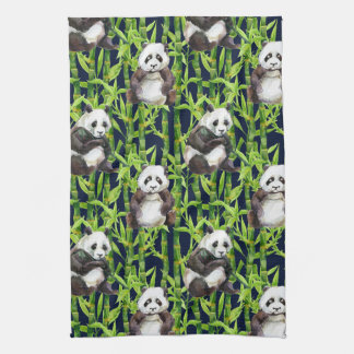 Panda With Bamboo Watercolor Pattern Towel