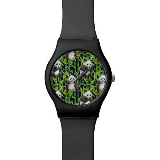 Panda With Bamboo Watercolor Pattern Wrist Watches
