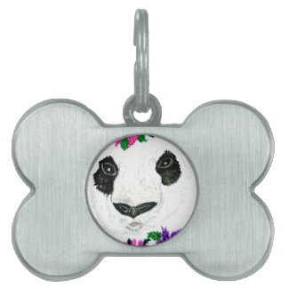 Panda with Flowers Pet Tag
