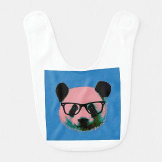Panda with glasses in blue bib