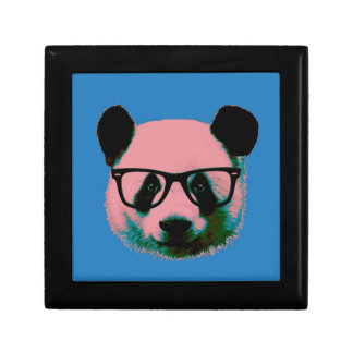 Panda with glasses in blue gift box