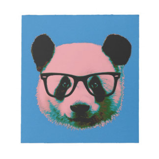Panda with glasses in blue notepad