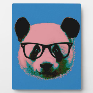 Panda with glasses in blue plaque