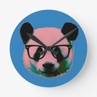 Panda with glasses in blue round clock