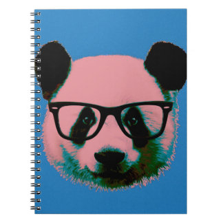 Panda with glasses in blue spiral notebook