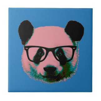 Panda with glasses in blue tile