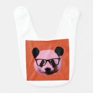 Panda with glasses in orange bib