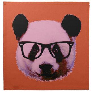 Panda with glasses in orange napkin