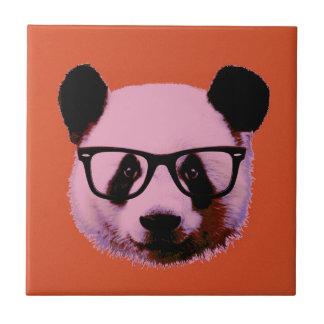 Panda with glasses in orange tile