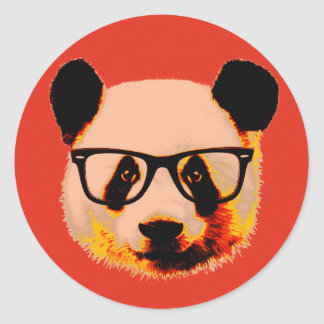 Panda with glasses in red classic round sticker