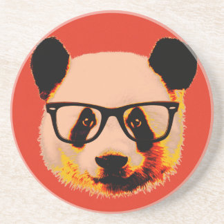 Panda with glasses in red coaster