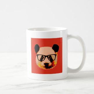 Panda with glasses in red coffee mug