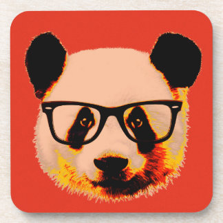 Panda with glasses in red drink coasters