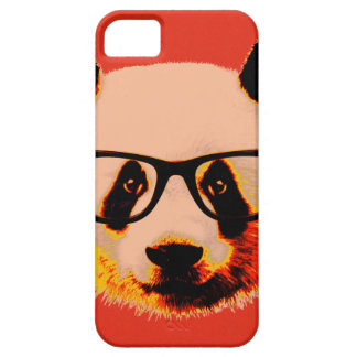 Panda with glasses in red iPhone 5 cover