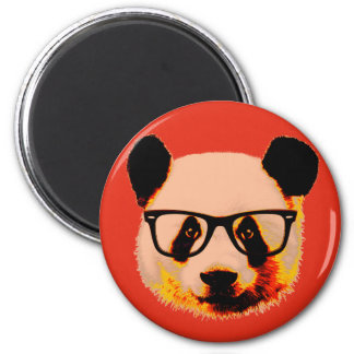 Panda with glasses in red magnet