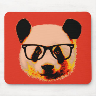 Panda with glasses in red mouse pad