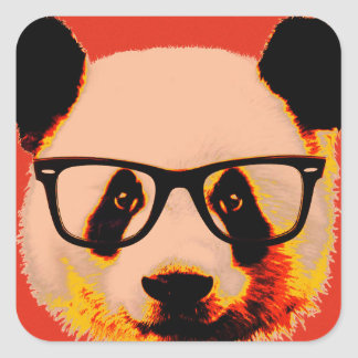 Panda with glasses in red square sticker