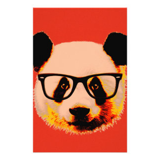 Panda with glasses in red stationery