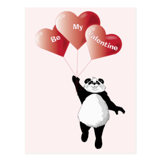 Panda with Heart Balloons Valentine Postcard