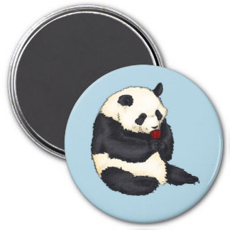 Panda with red tea cup 3 inch round magnet