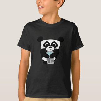 Panda with Silver Cell Phone T-Shirt