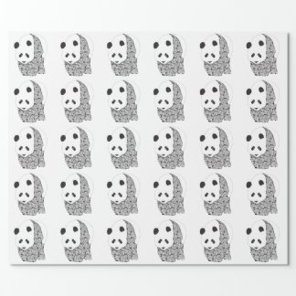 Panda With Tattoo Roses Wrapping Paper