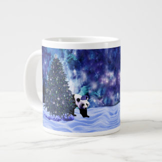 Panda's Christmas Holiday at the North Pole Large Coffee Mug