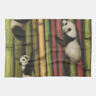 Pandas Climbing Bamboo Kitchen Towel