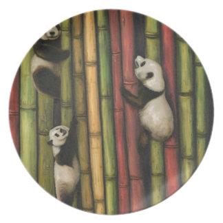 Pandas Climbing Bamboo Plate