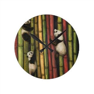 Pandas Climbing Bamboo Round Clock