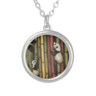 Pandas Climbing Bamboo Silver Plated Necklace