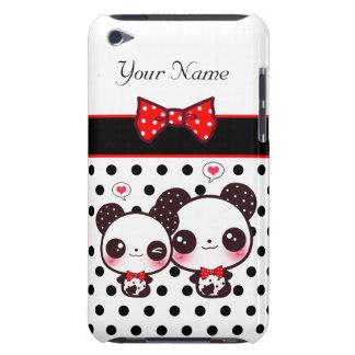 Pandas de Kawaii avec l'arc rouge sur le pois Coque Case-Mate iPod Touch