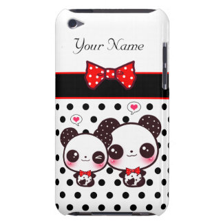 Pandas de Kawaii avec l'arc rouge sur le pois Étui iPod Touch
