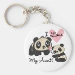 Pandas I Love My Aunt Key Chains