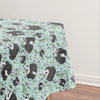Pandas in Blue Tablecloth