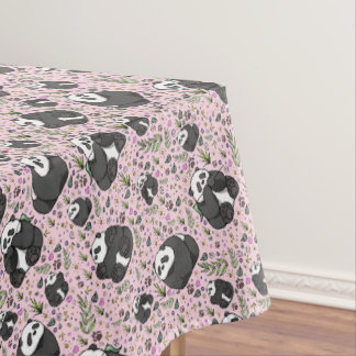 Pandas in Pink Tablecloth