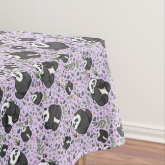 Pandas in Purple Tablecloth