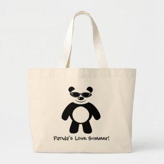 Panda's Love Summer! Large Tote Bag