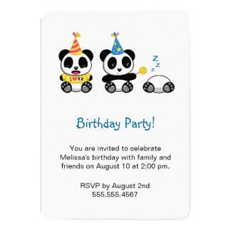 Pandas mignons d'anniversaire carton d'invitation  12,7 cm x 17,78 cm