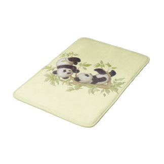 Panda's Playing in a Tree Bathroom Mat
