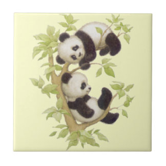 Panda's Playing in a Tree Ceramic Tile