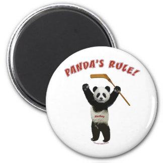 Panda's Rule Hockey Bear Magnet