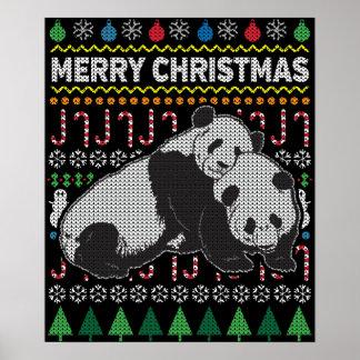 Pandas Ugly Christmas Sweater Wildlife Series Poster