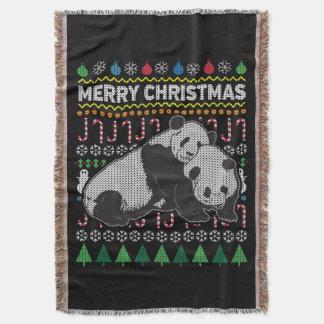 Pandas Ugly Christmas Sweater Wildlife Series Throw Blanket