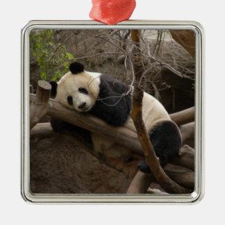 PandaSD003 Silver-Colored Square Ornament