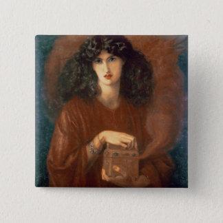 Pandora, 1871 (oil on canvas) 2 inch square button