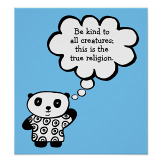 Pandy the Panda Buddhist Be Kind Quote Poster