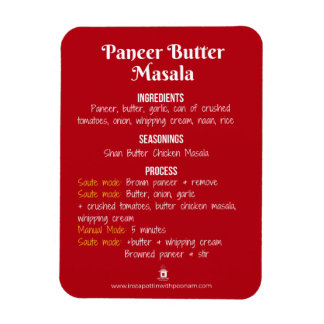 Paneer Butter Masala Recipe Magnet for Instant Pot