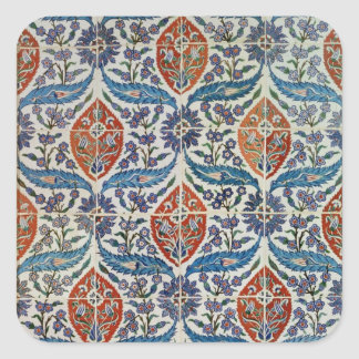 Panel of Isnik earthenware tiles Square Sticker