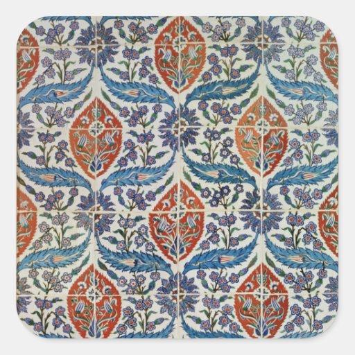 Panel of Isnik earthenware tiles Square Sticker